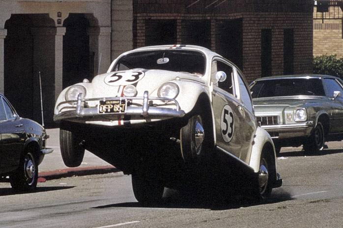 Herbie the beetle doing a wheelie.