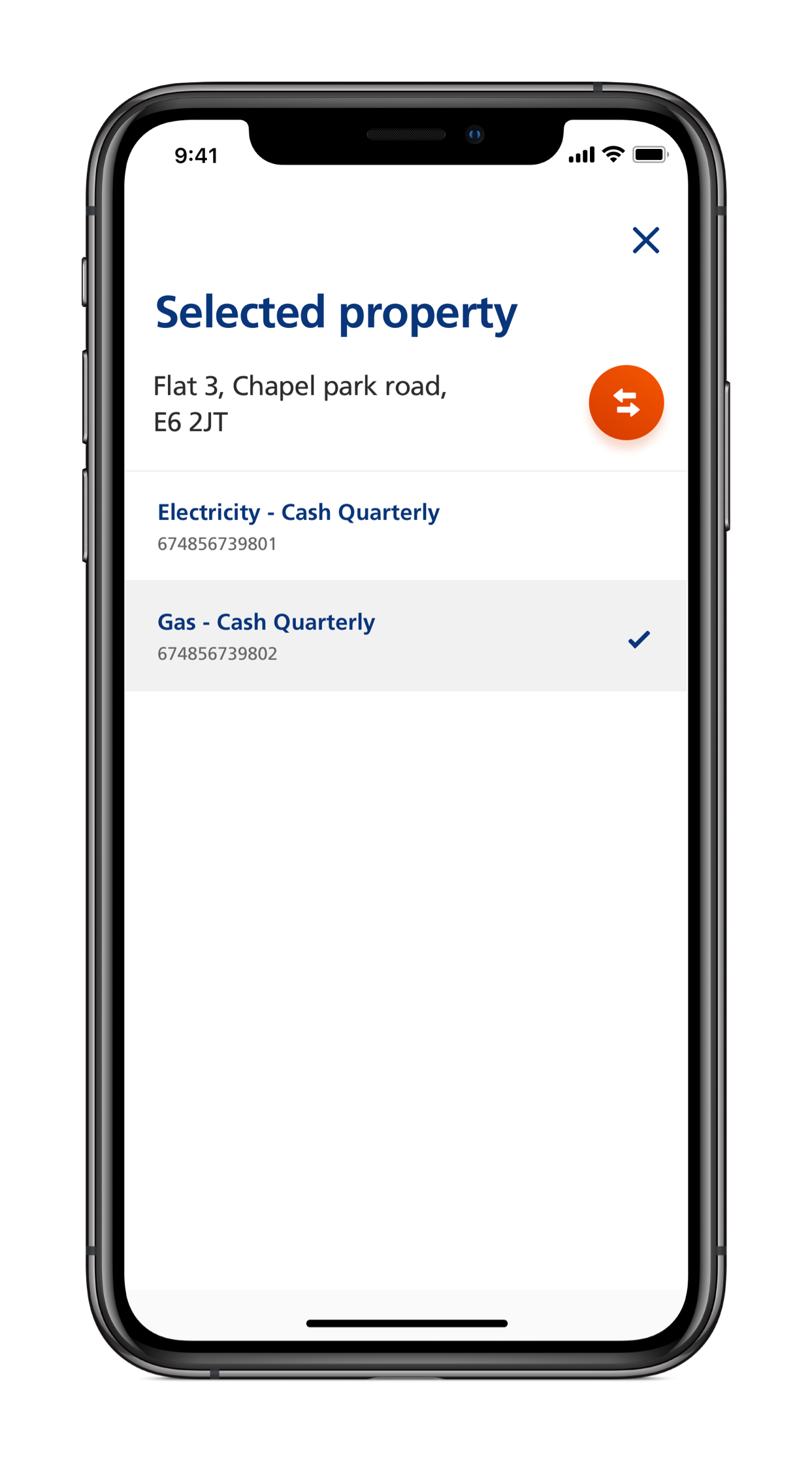Screenshot of EDF mobile app and how to switch between customer accounts