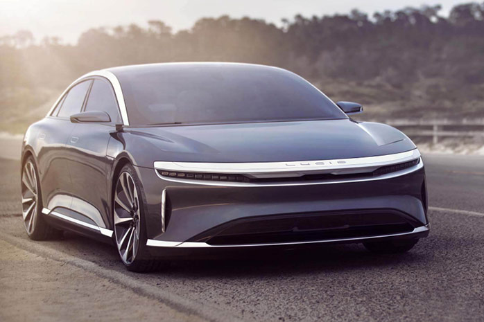 Lucid Air front shot on a road