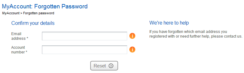 EDF Energy MyAccount for Business Password Screen
