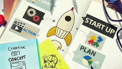Startup ideas in sketchbook