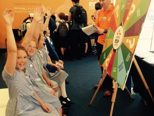 School pupils taking part in an energy spin the wheel game