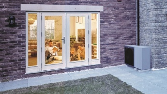 Couples home with Air Source Heat Pump unit outside