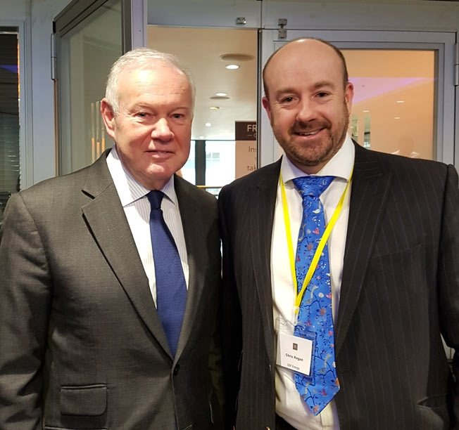 Minister of State for Energy and Climate Change Charles Hendry with Chris Regan.