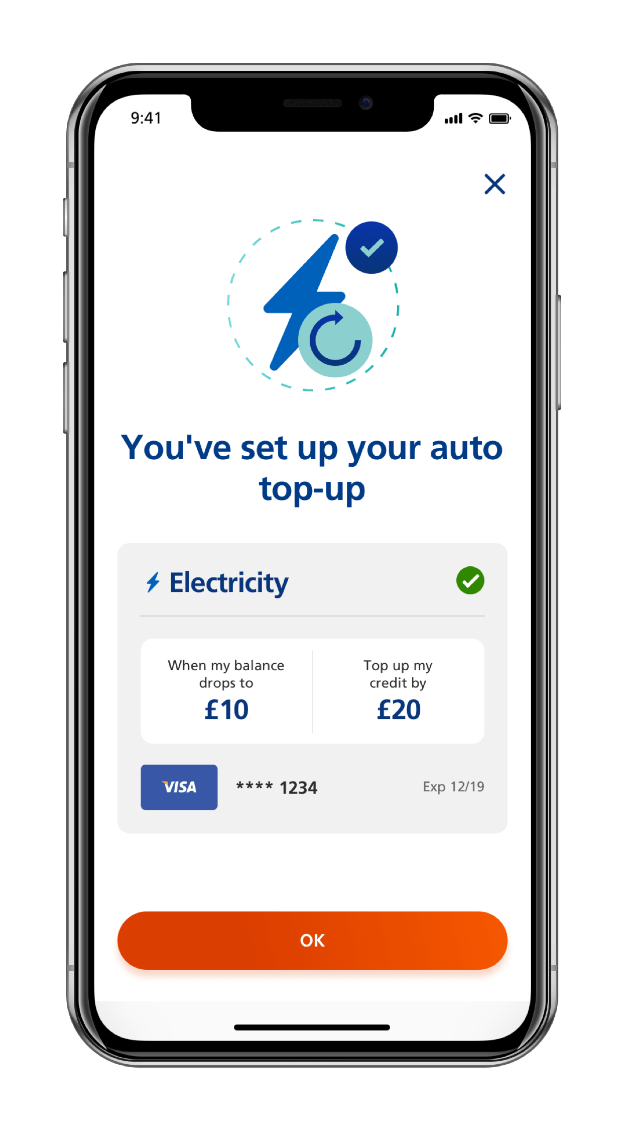 Screen of mobile app showing how to set an auto top up for a prepayment meter