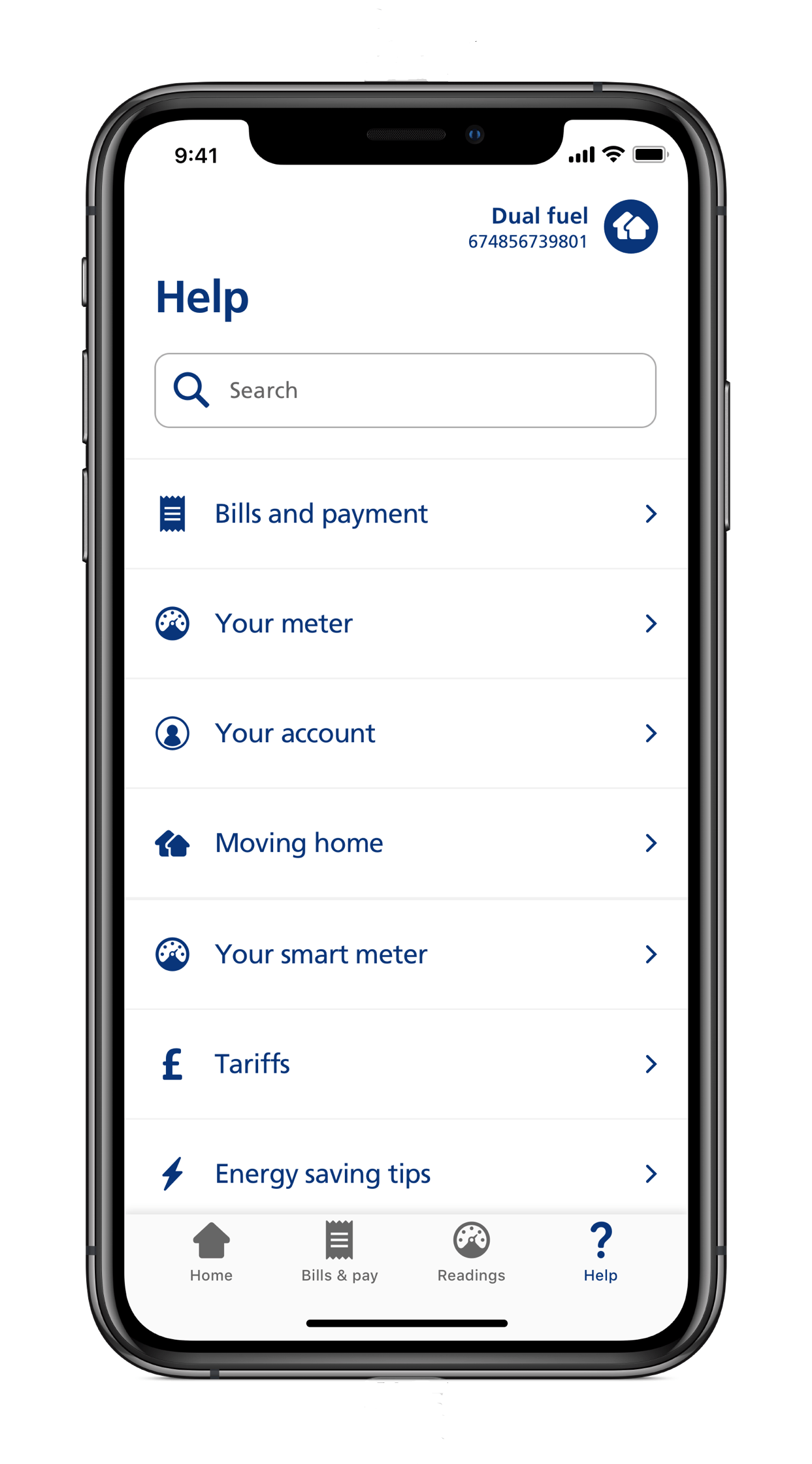 Screenshot of EDF mobile app showing the FAQ help section