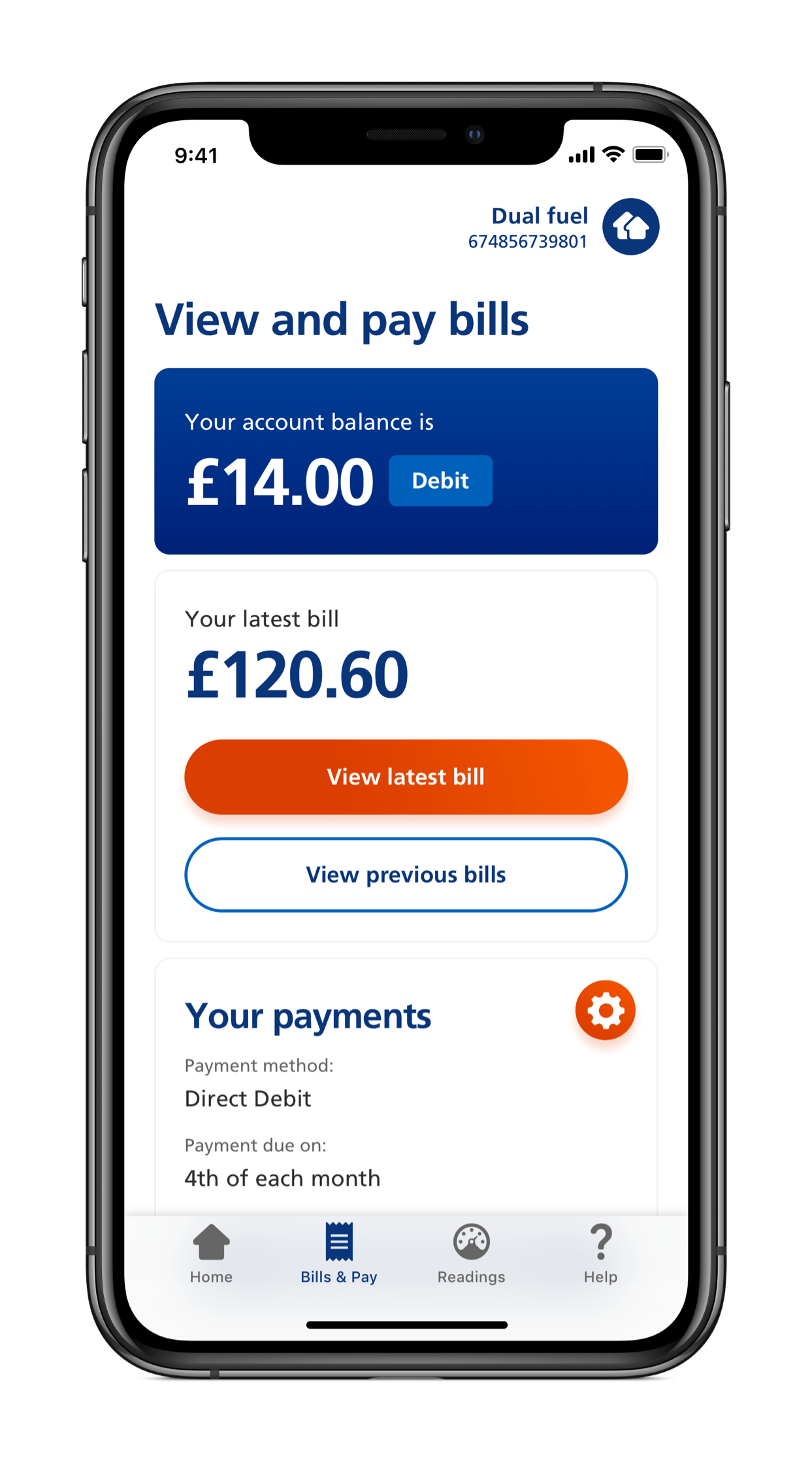 Screenshot of mobile app showing how to see your current balance and make payments