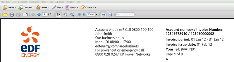 EDF Energy MyAccount for Business Invoice Search