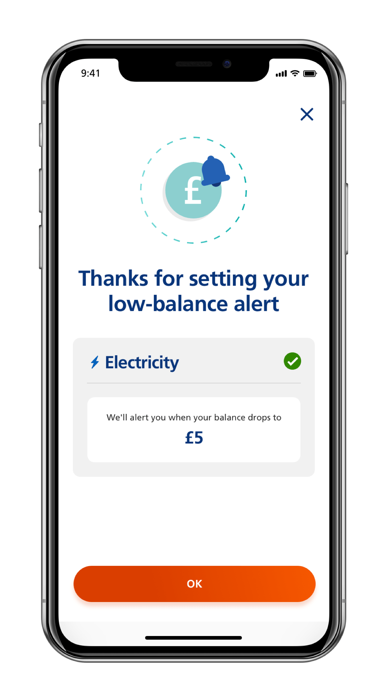 Screen of mobile app showing how to receive a low balance alert for a prepayment meter