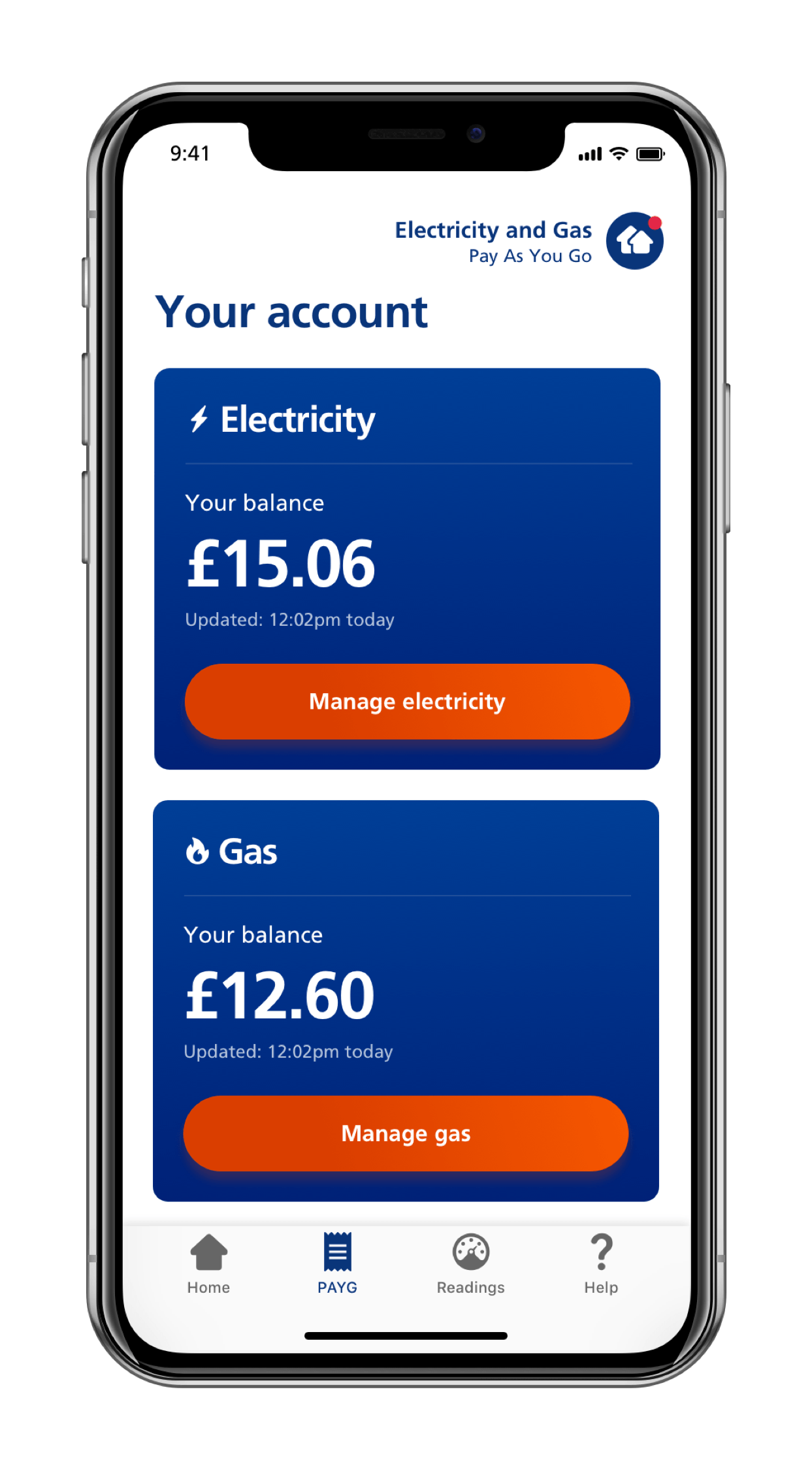 Screen of mobile app showing a prepayment customer their current balance