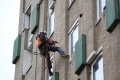 Abseiler installs cavity wall insulation thanks to EDF Energy ECO funding