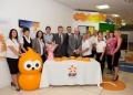 The EDF Energy Visitor Centre team mark the occasion with cake cutting performed by Nigel Cann and Peter Evans.