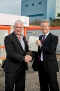 Nigel Cann (left) and Chris Claydon with the signed ECITB Skills Charter