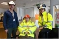 Disabled visitor Jean (centre) with Hinkley Point B foundation degree student Damon Booth and station guide Sue Butler.
