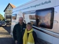 Sizewell C community relations officer Nicola Corbett with Garry Simmonds from the Rural Coffee Caravan