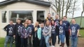 A group from EDF Energy's East Kilbride office outside one of the charity's mobile homes in Wemyss Bay