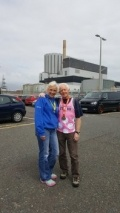 Bob and Lesley outside the power station on the Kent coastline