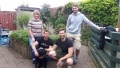 L-R: Alison Cameron, Callum Wilson, Stephen Kerr and Blair Hamilton help out at Aberlour along with Ralph the dog.