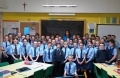 Eve Muirhead with P6 and P7 pupils from St Bride's Primary in Bothwell