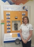 Visitor Centre Coordinator Emma Horne in the exhibition room at Hunterston B