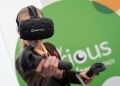 A student from Robert Napier School gets to grips with the virtual reality kit