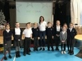 Eve Muirhead with primary 6 pupils from Stanley Primary in Ardrossan
