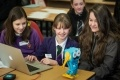 Pupils from Kinross High School with Marty the Robot. L to R, Rebecca Keiro (13yrs), Caroline Newton (12yrs) and Isla Munroe (12yrs).