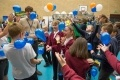Pupils from Wembdon St George's Primary School and Bridgwater College Academy have fun with balloons.