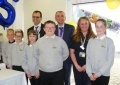 Simone Rossi, EDF Energy CEO; Robert Gunn, Torness Station Director and Faith Scott, Torness Visitor Centre Coordinator with pupils from Chirnside Primary in the Scottish Borders