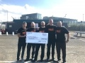 Some of the Hunterston B 'C' Shift with a cheque showing their fundraising success; L-R: Mathew Santos, David Rankin, Steven Duffy, Daniel Smith, and David Dudgeon.