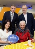 Celebrating 100,000! Pictured back row, left to right, Peter Evans, Bob Fenton - Communications, EDF Energy, front row, left to right - Sherry Sellick - Visitor Centre Coordinator, and our 100,000th visitor, John Durant, from Bridgwater