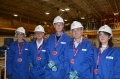 Sue Ferns (Prospect) Paul Nowak (TUC) Justin Bowden (GMB), Miles Hubbard (Unite), Julia Pyke, EDF Energy Nuclear Development Director pictured in the Sizewell B turbine hall