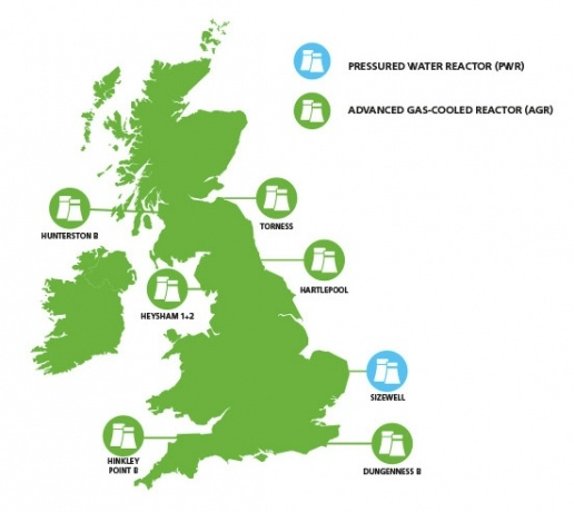 UK map showing nuclear power station locations