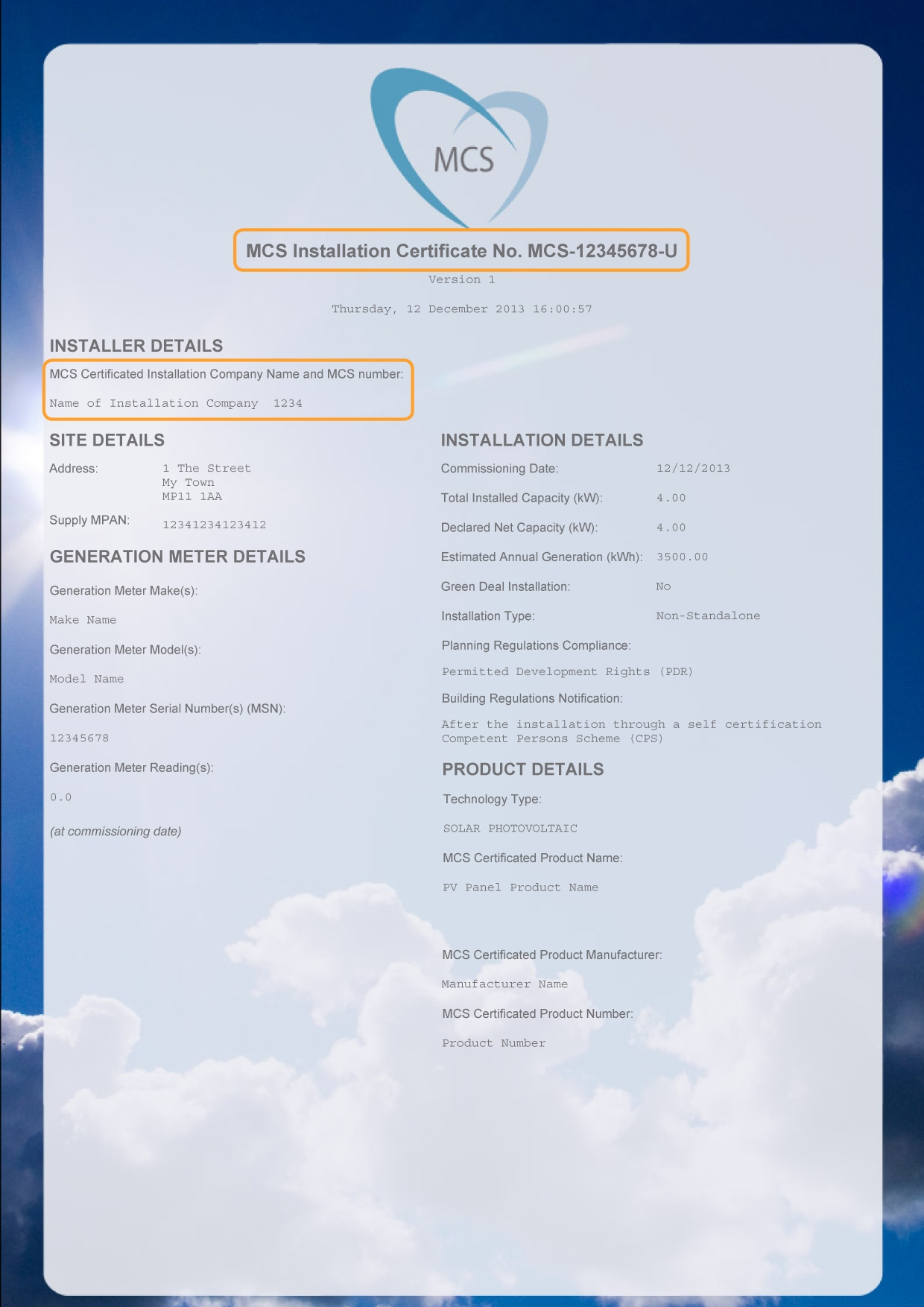 MCS installation certificate details