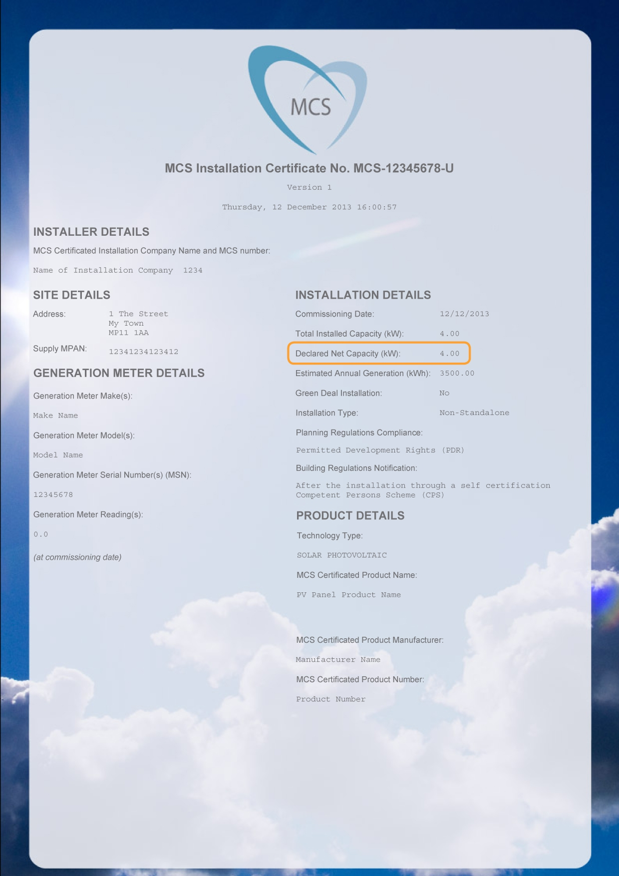 MCS installation certificate - declared net capacity