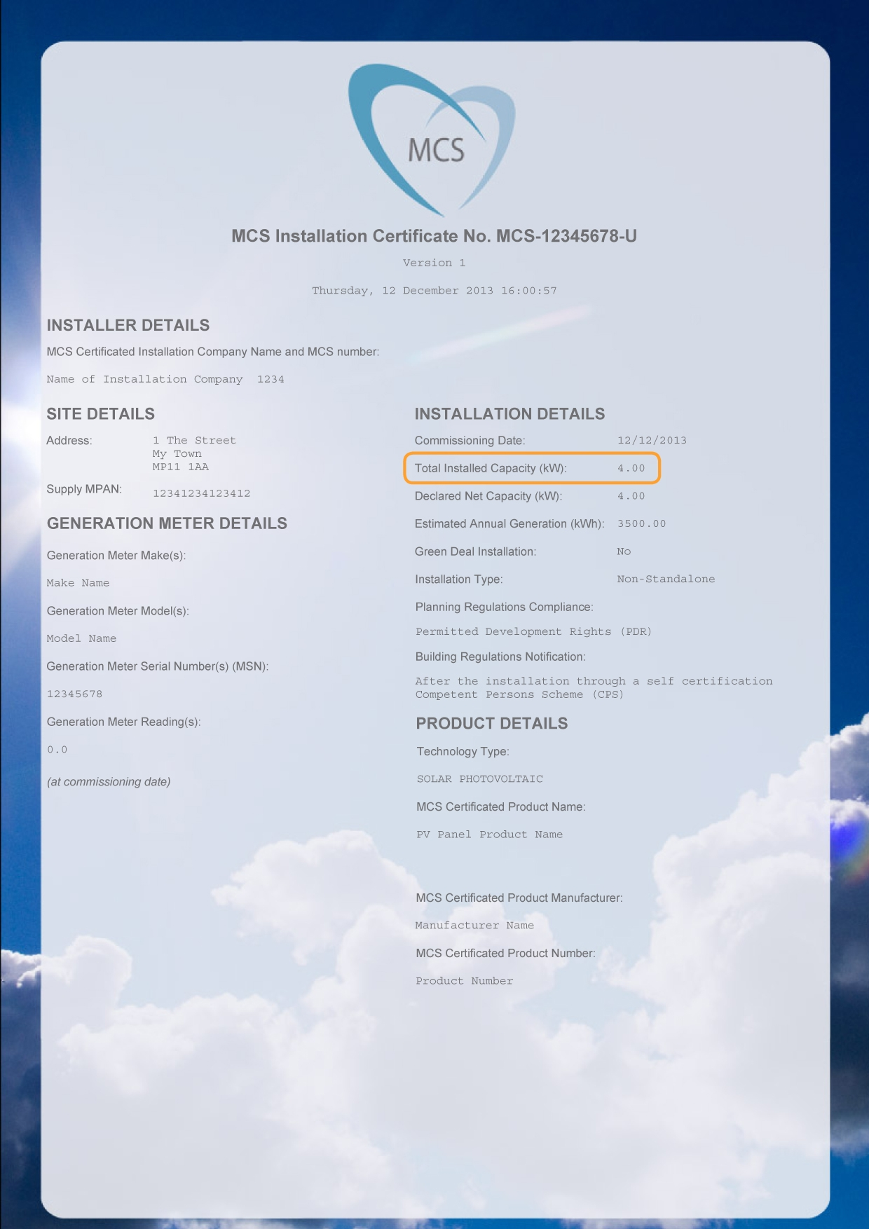 MCS installation certificate - total installed capacity