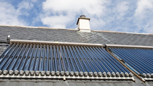 close up of a solar thermal roof installation