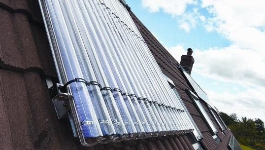 solar thermal panel installed on a roof