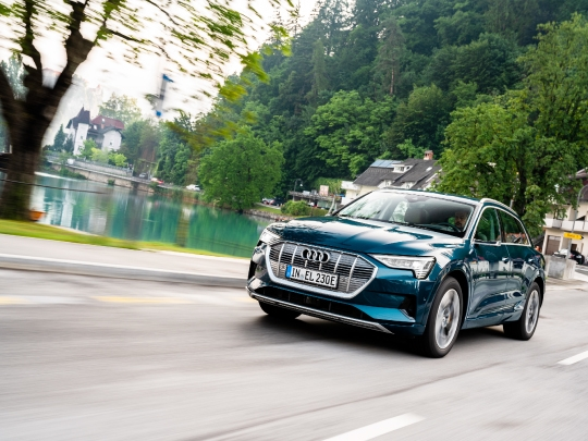 Audi e-tron front exterior view on road