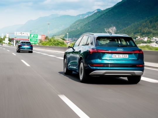 Audi e-tron rear exterior view on road