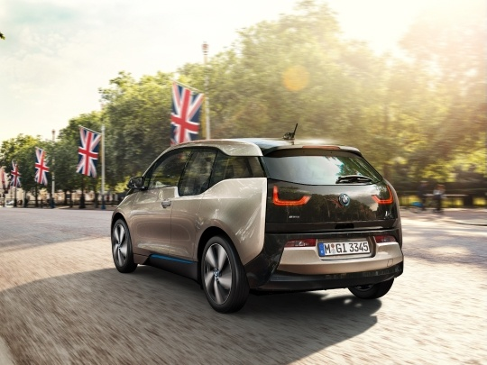 BMW i3 120Ah rear view on road