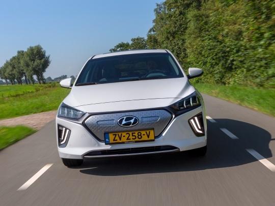 Hyundai IONIQ front view on road