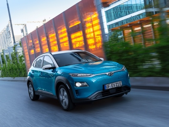 Hyundai Kona Electric front view on road