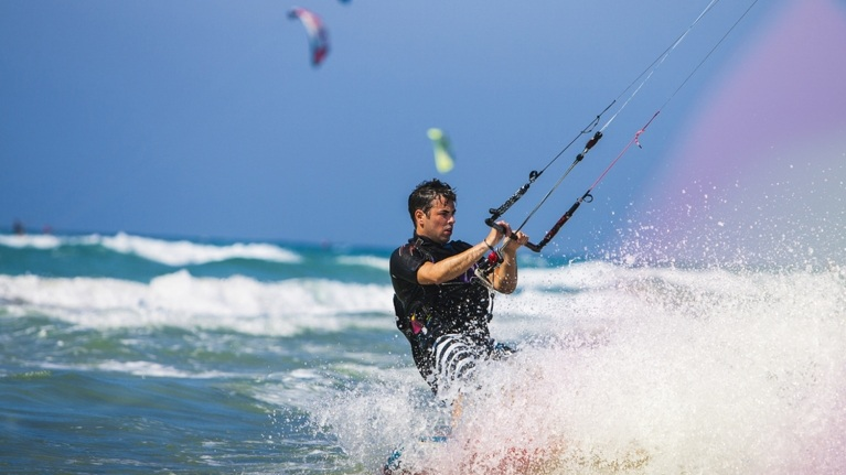 Man kite-surfuing near Dungeness