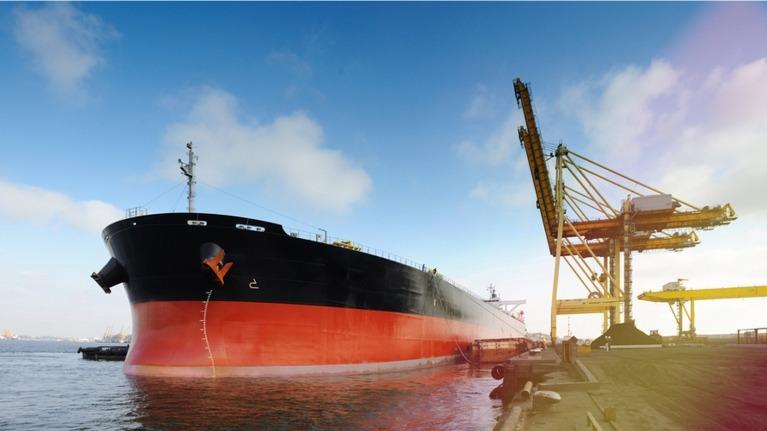 Large ship in dock