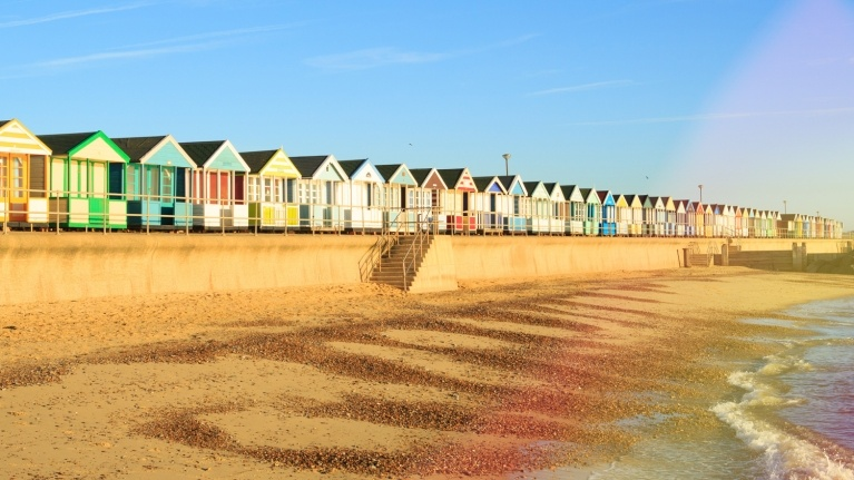 Beach huts near Sizewell