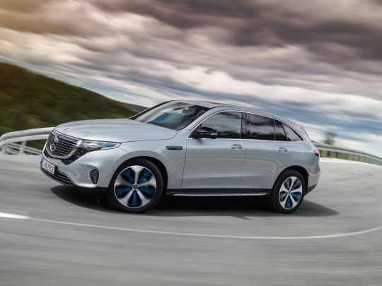 Mercedes EQC 400 front view on road