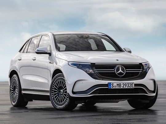 Mercedes EQC AMG Line front shot in white