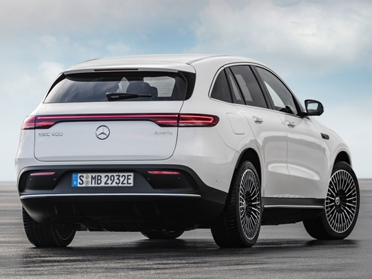 Mercedes EQC AMG Line rear shot in white