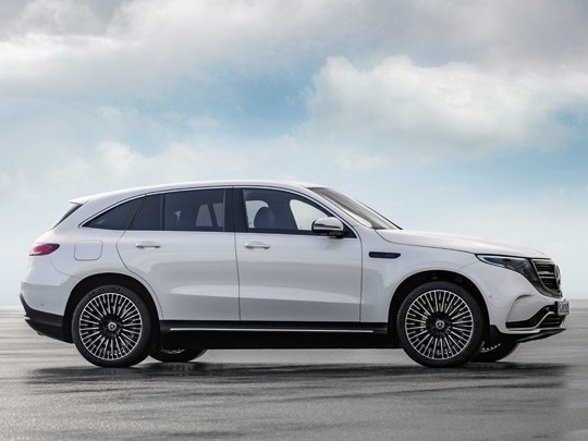 Mercedes EQC AMG Line side shot in white